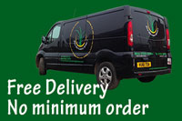 A photo of our van with the caption Free Delivery No Minimum Order
