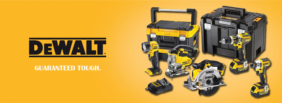 a photo of dewalt power tools on a yellow background