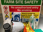 A photo of signs and safety clothing