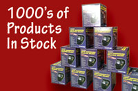 A photo of a stack of boxes with the caption 1000's Products in Stock