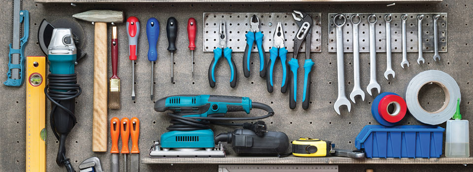 A photo of some tools on a tool bench